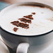 Close up of cappuccino with christmas tree shape