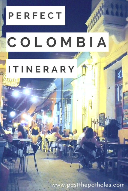 "street full of restaurant tables and lights with text ""Perfect Colombia Itinerary"""