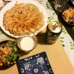kim chee gyoza❤︎ ・ ・ ・ #キムチ #餃子 #大阪 #サラダ #ビール #kimchee #gyoza #salad #beer #osaka #japan