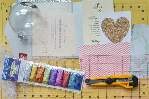 Supplies: Can use all sorts of paper (wedding invites, birthday invites, thank you cards, wedding ceremony program, pretty envelopes, etc.)