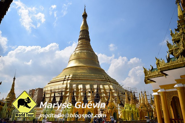 Shwedagon pagoda et Maha Wizaya pagoda Yagon Birmanie Myanmar