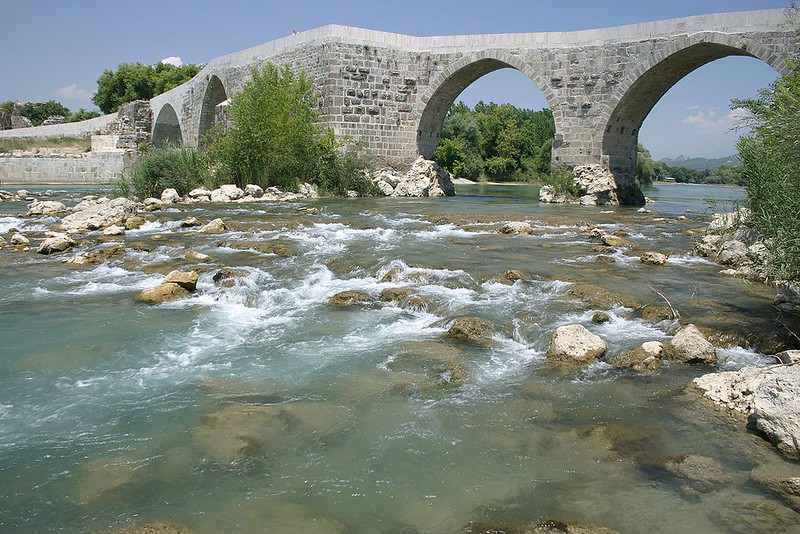 The Eurymedon River, near Aspendos, a place of the battle the Battle of Eurymedon
