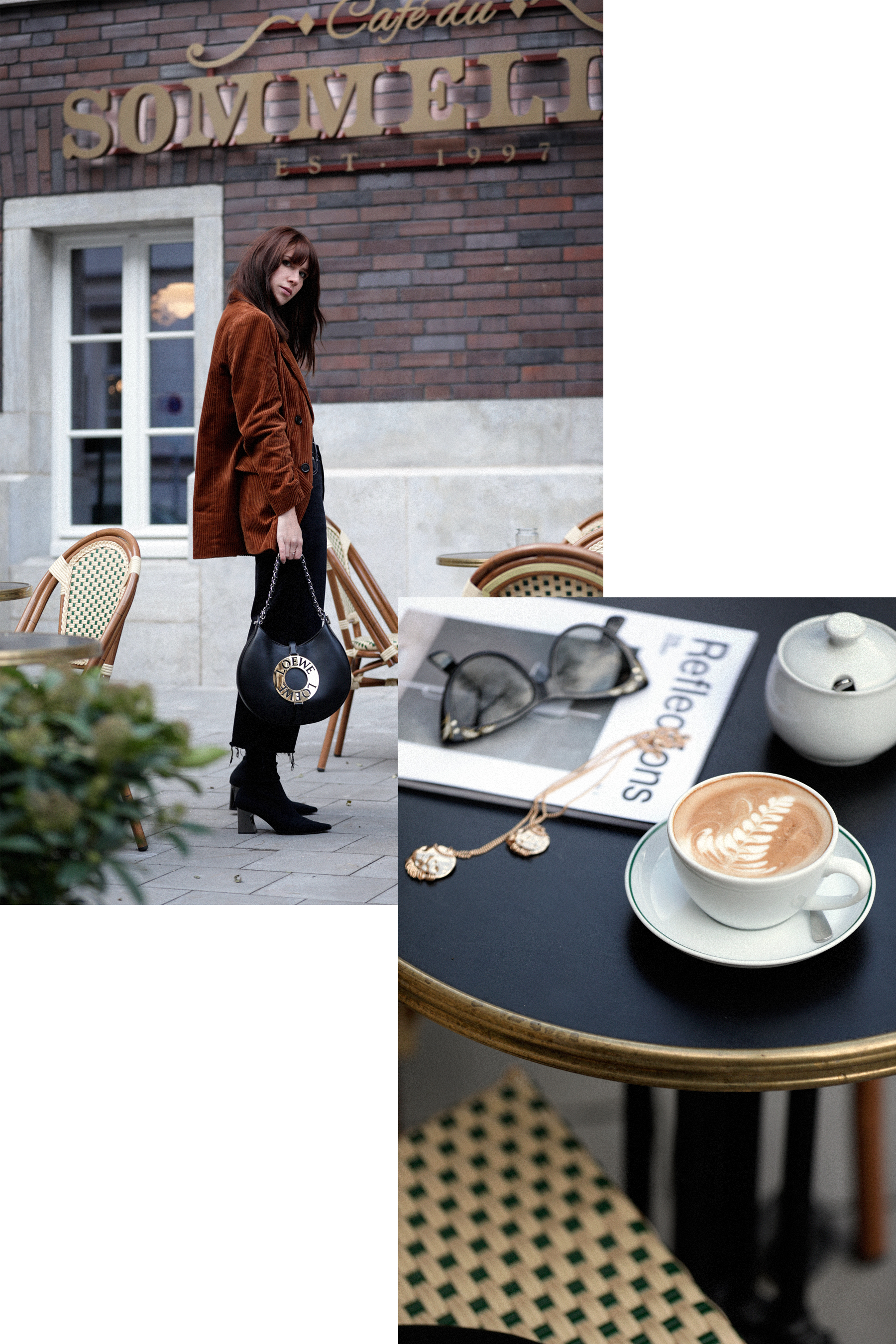 outfit brown cord cognac blazer jacket loewe joyce bag parisian cafe parisienne paris chic louis poulsen gucci sunglasses sock boots styling catsanddogsblog ricarda schernus modeblogger fashionblog düsseldorf max bechmann fotograf film 7