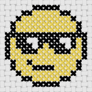 Preview of Simple cross stitch patterns: Cool Smiley Emoji