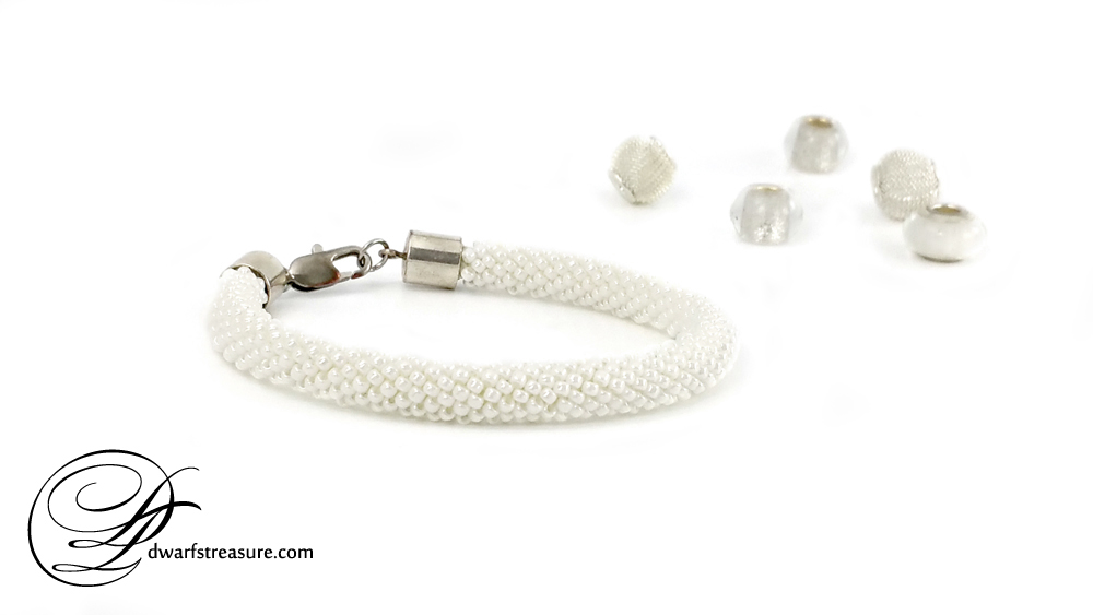 Bohemian white beaded crochet rope bracelet