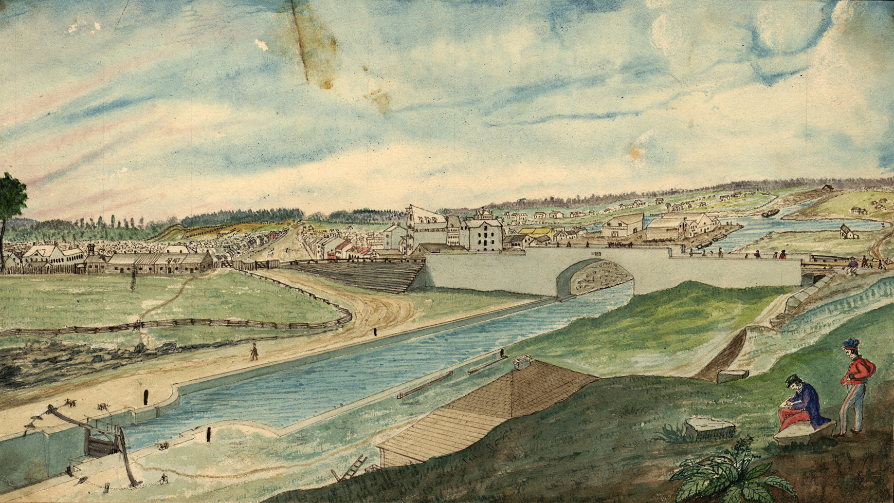 Lower Bytown from Barracks Hill, in 1845. The Bridge connecting Lower Bytown with the rest of the settlement was erected in 1827.