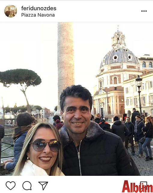 Feridun Özdeş, eşi Perihan Özdeş ile birlikte Piazza Navona'daydı.