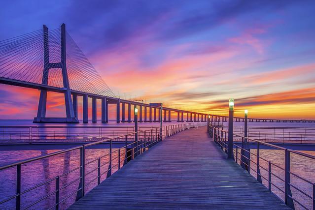 The Vasco da Gama Bridge at Sunrise