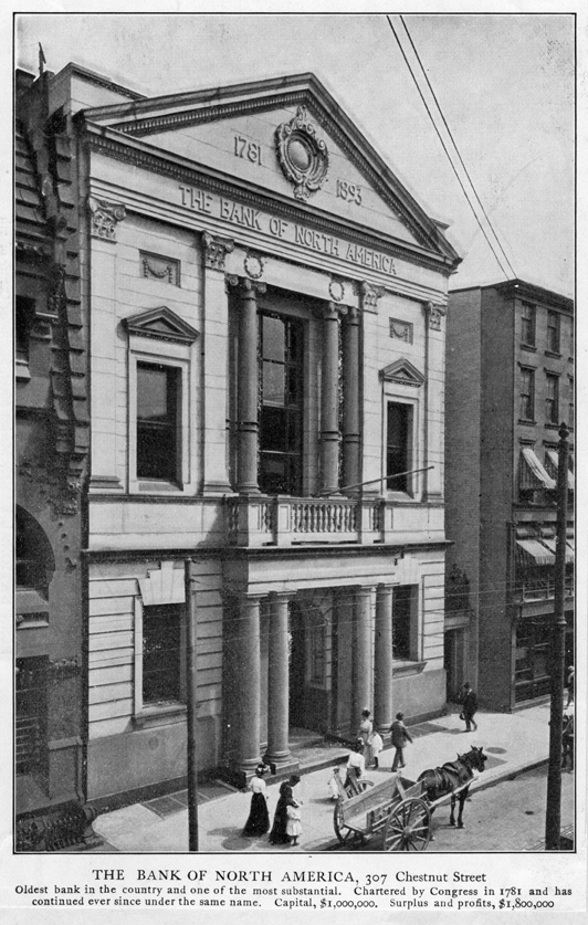 Lithograph of the Bank of North America at 309 Chestnut Street, Philadelphia, Pennsylvania. The inscription reads