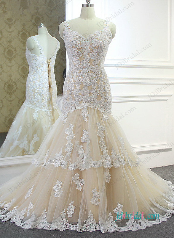 h0998 champagne white lace mermaid bridal wedding gown