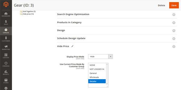 Magento 2 Extensie Verberg Prijzen, Pas de prijsaanvraag extensie toe op een bepaalde categorie