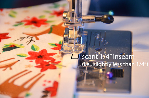 """Sew flange to quilt block with scant 1/4"""" inseam."""