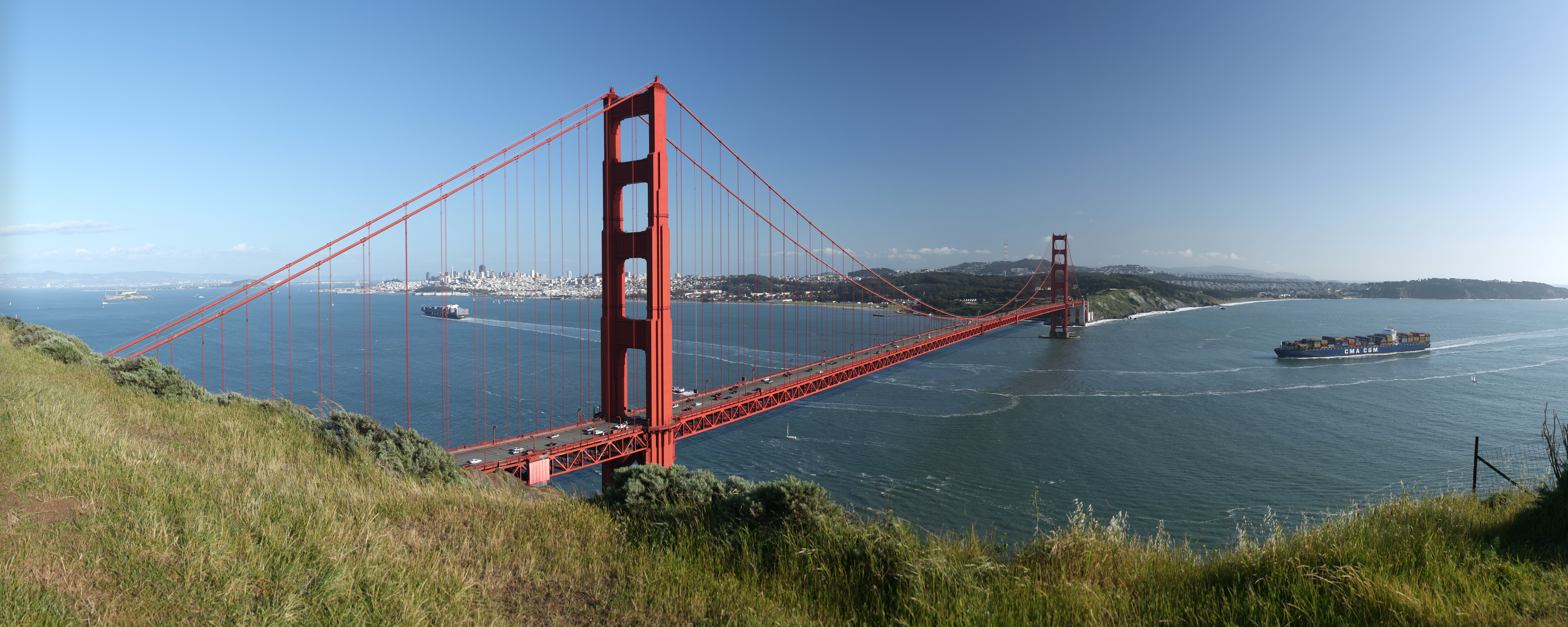 The Golden Gate in California, as seen from the Marin Headlands looking south.