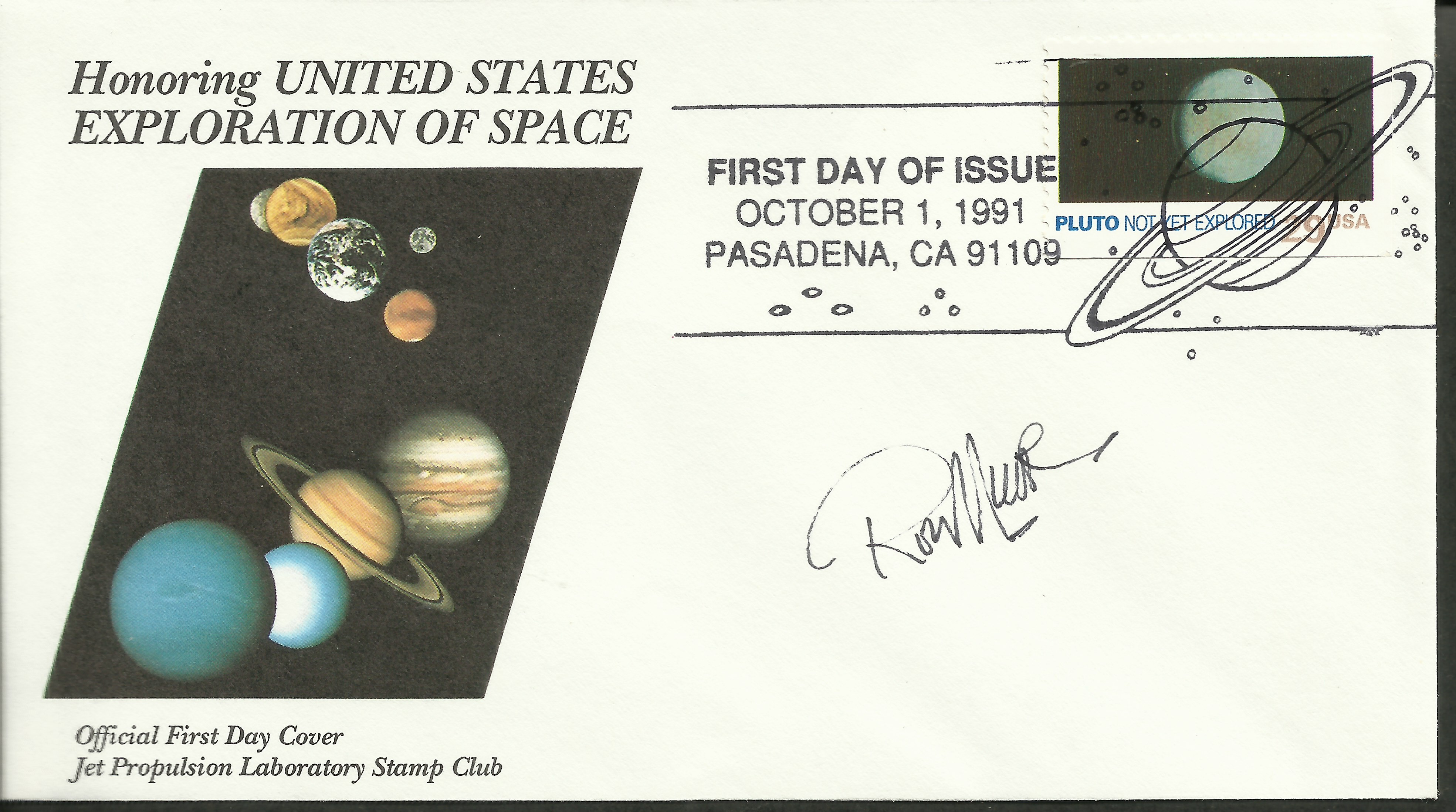 United States - Scott #2577 (1991): First Day Cover from the Jet Propulsion Laboratory (NASA) Stamp Club, autographed by stamp designer Ron Miller.