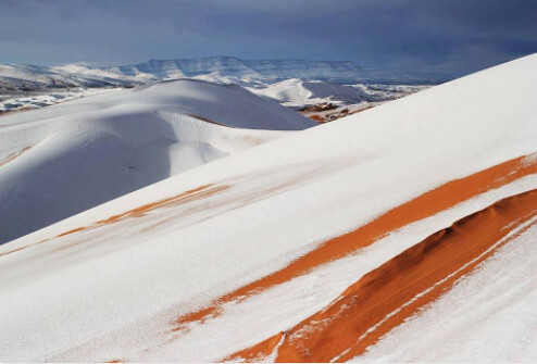 Snowfall over the Sahara Desert