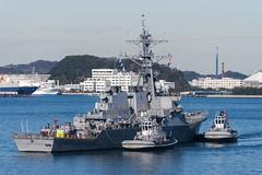 USS John S. McCain (DDG 56) is towed to the pier at Fleet Activities Yokosuka, Dec. 13. (U.S. Navy/MC1 Leonard Adams Jr. )