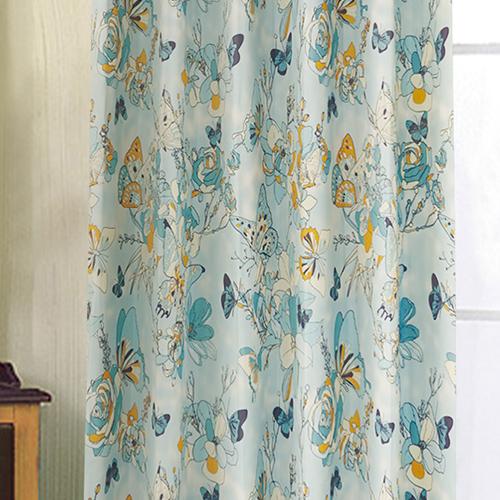 蝶 (獨家) 昆蟲 花與蝶 典雅花卉 蝴蝶  防光(遮光)窗簾布 DA1990036