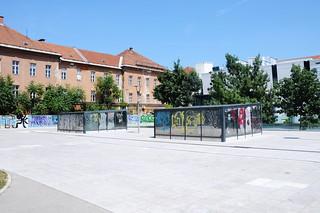 Place in front of Muzej sodobne umetnosti Metelkova (Museum of Contemporary Art Metelkova) Ljubljana