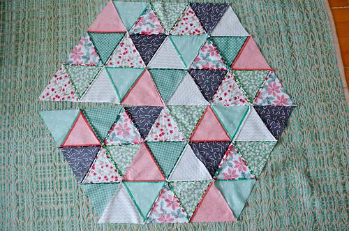 Back of finishing hexagon tree skirt top