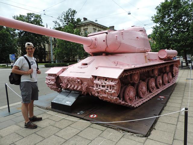 Pink tank in Brno, Czechia
