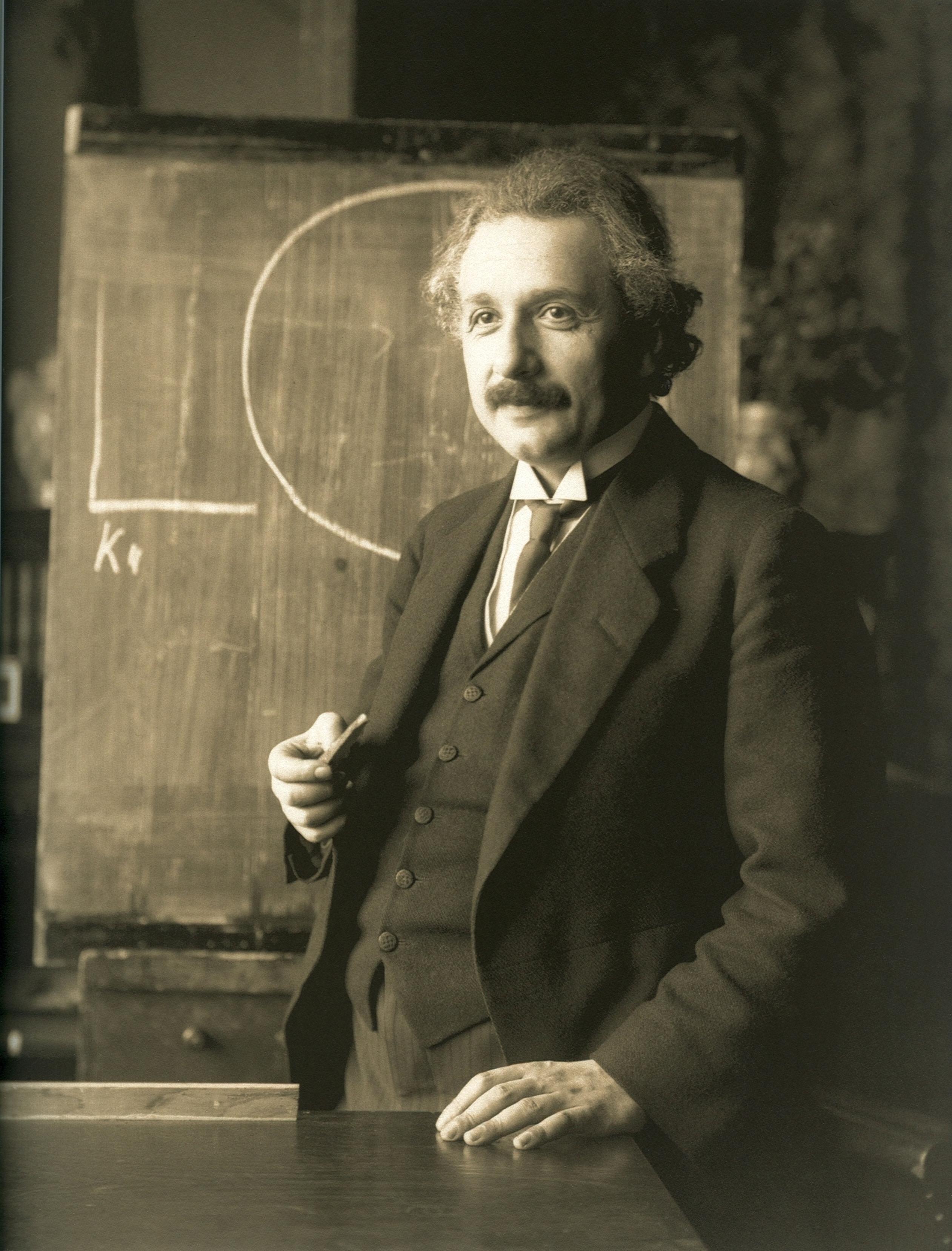 Albert Einstein during a 1921 lecture in Vienna.