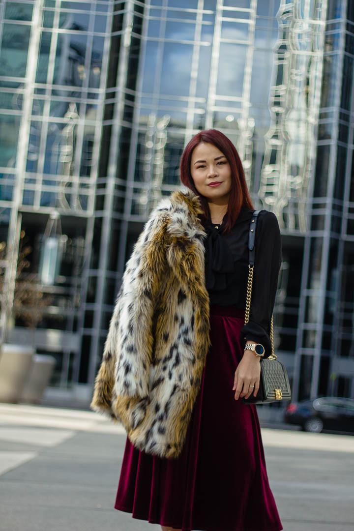 velvet skirt, bow tie blouse, leopard coat