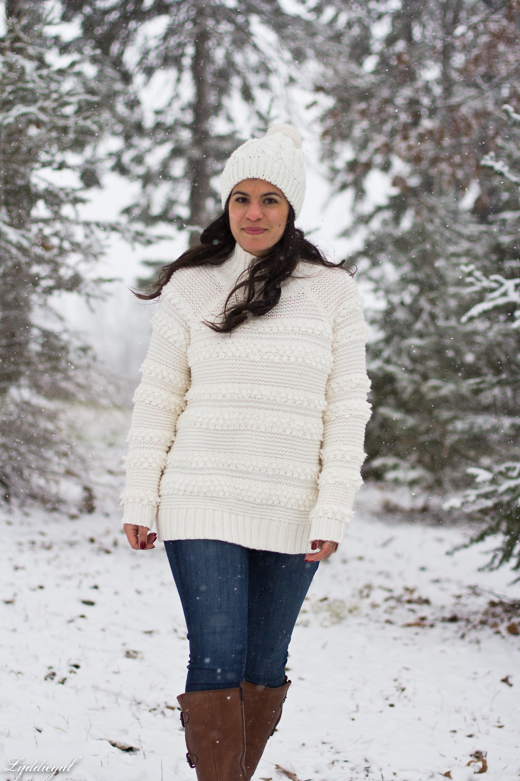 loft white sweater, brown leather boots, pom pom hat, tree hunt outfit-20.jpg