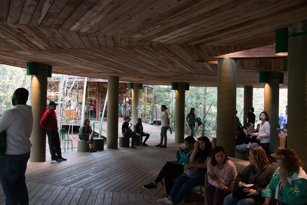 Tour check-in area at Fallingwater