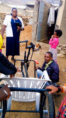 The SSL Community in Dawhan recently presented a wheelchair to Mr Hagos Gebru