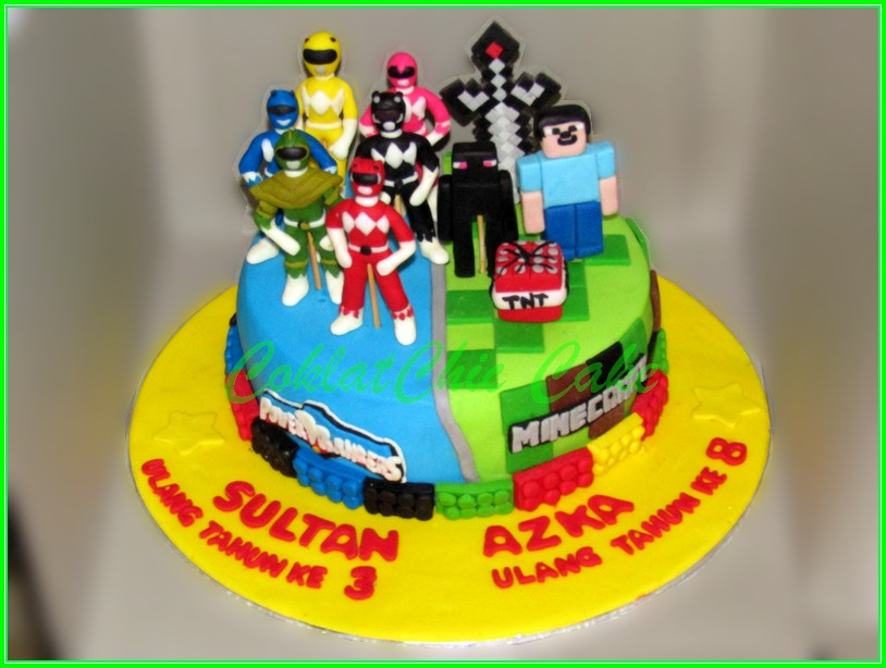 Cake Power Rangers & Minecraft SULTAN & AZKA 22cm