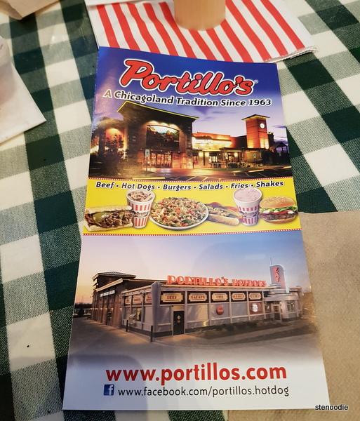 Portillo's Hot Dogs menu cover