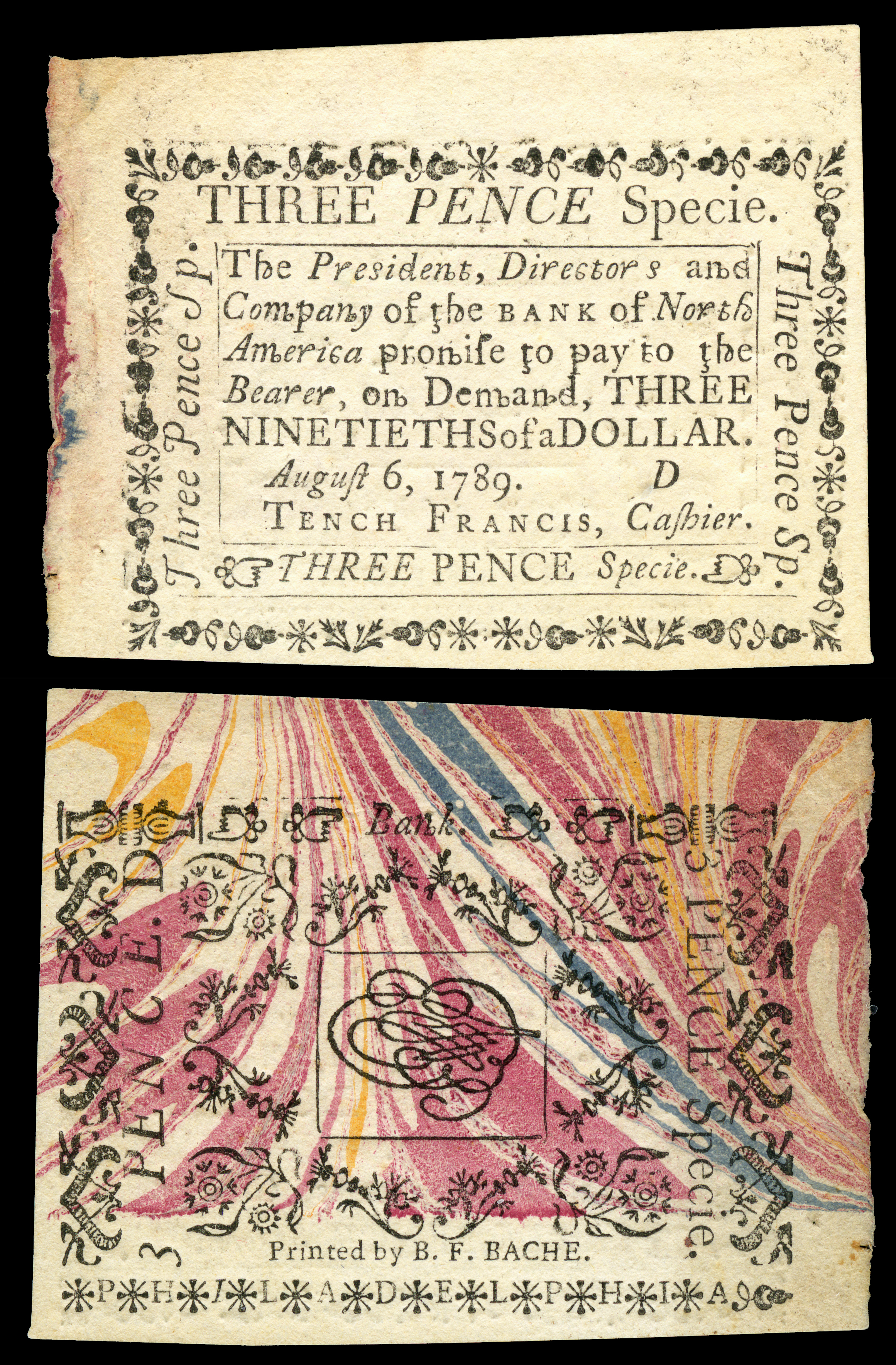 Three pence Colonial currency from the Province of Pennsylvania issued by the Bank of North America, 6 August 1789. Printed by Benjamin Franklin Bache on marbled paper obtained by Benjamin Franklin. Engraved signature of Trench Francis.