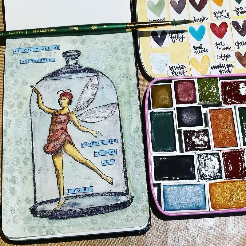 These @wanderlustwc watercolors are wonderful 💖 Used Cyprus green, Winter Frost, Samhain, Jot Red, Teal Suede, Paynes Grey and Autumn Gold. Stamps from @vivalasvegastamps __________ #watercolorpainting #watercolorplay #watercolors #moleski