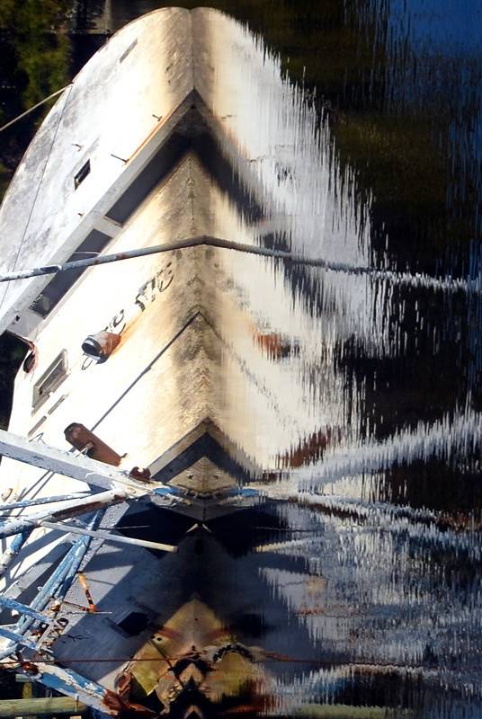 Reflection of a sunken ship