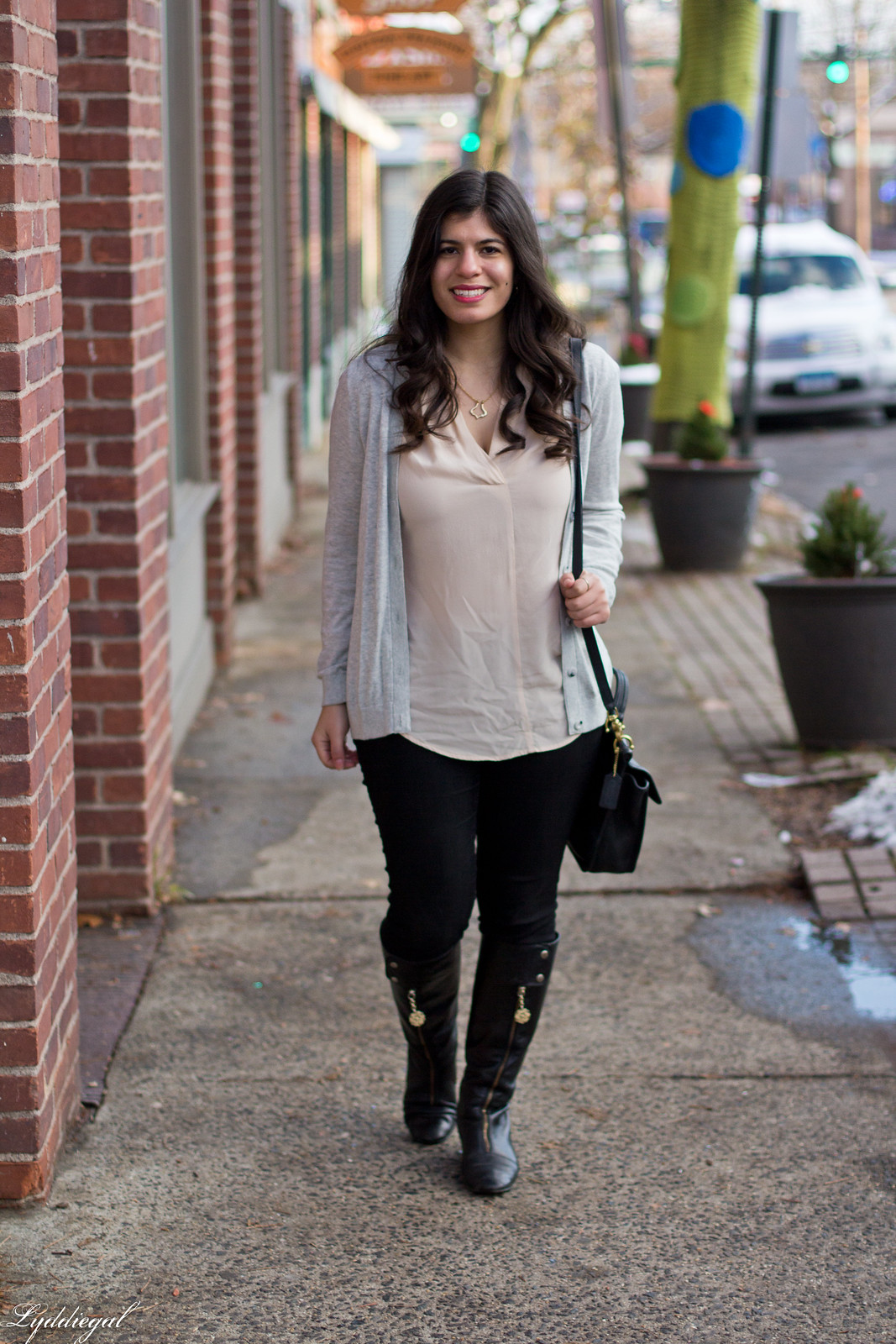 CT Style blogger wearing a blush silk top, black jeans, boots, grey cardigan-11.jpg