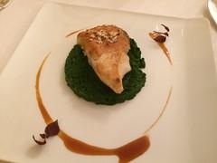 Blanc de turbot poêlé, viennoise à la noisette, Fine mousseline de laitue, jus de viande - Photo of Bannay