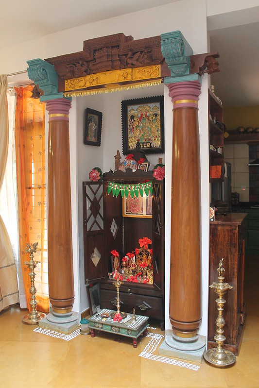 Pooja room with pillars