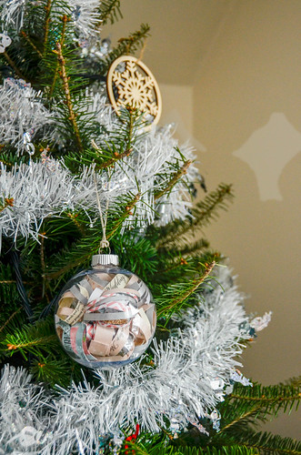 8. Cut some hemp cord, knot it, and pass the knot through the ornament loop & cord loop, can now hang on tree, or...