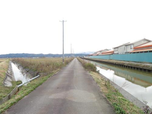 金沢競馬場の裏の一本道
