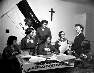 Girl Scouts at St. Patrick Parish School in North Hollywood, CA  1952