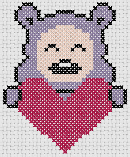 Preview of Cross stitch animals pattern: Valentine Bear