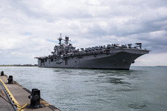 USS America (LHA 6) approaches the pier at RSS Singapura - Changi Naval Base, Dec. 22. (U.S. Navy/MC3 Christopher A. Veloicaza)