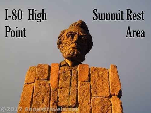 Bust of Abraham Lincoln that once celebrated the high point of the Lincoln Highway. It now rests at the I-80 High Point at the Summit Rest Area, Wyoming