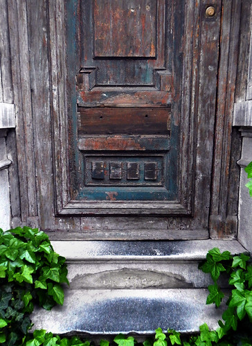Old wooden door in Antwerp, Belgium