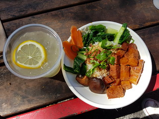 Pork Belly Special and Lemonade from Nonya Malaysian House at Brisbane Vegan Markets
