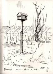 Nichoir à effraie des clochers (Tyto alba) sur poteau, en test sur la commue de Gillonnay, il a tenu le premier hiver ! - Photo of Eydoche