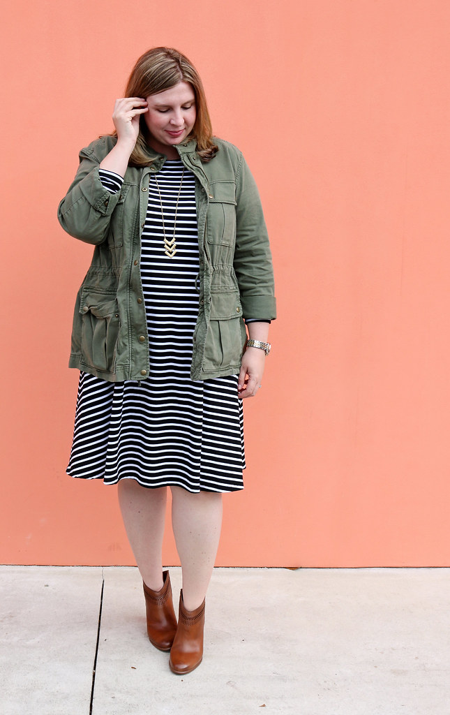 black and white stripe swing dress, olive cargo jacket, cognac booties 4