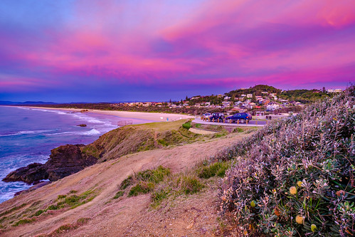 beach sunrise lighthousebeach surf coast australia nsw portmacquarie sea sky grass landscape