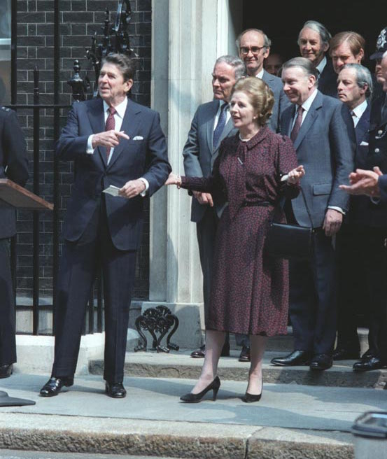 British Prime Minister Margaret Thatcher (here with Reagan outside 10 Downing Street in June 1982, as the Falklands War drew to a close) granted the U.S. use of British airbases to launch the Libya attacks.