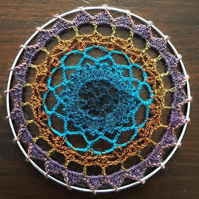 Mandala no.2, this time with gradient leftover sock yarns (yay fewer ends to weave in). #crochet #crochetmandala #spiritmandala